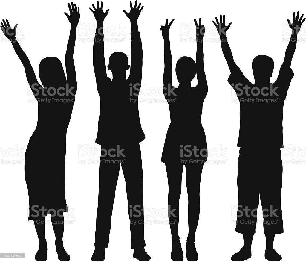 Detailed People with Hands in the Air vector art illustration