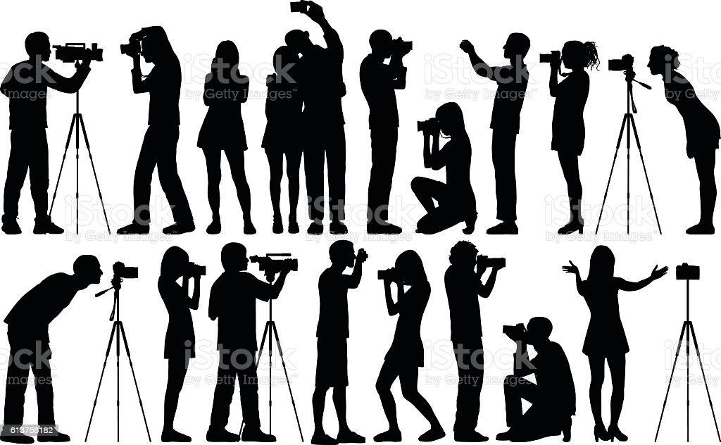 Detailed Photographers vector art illustration