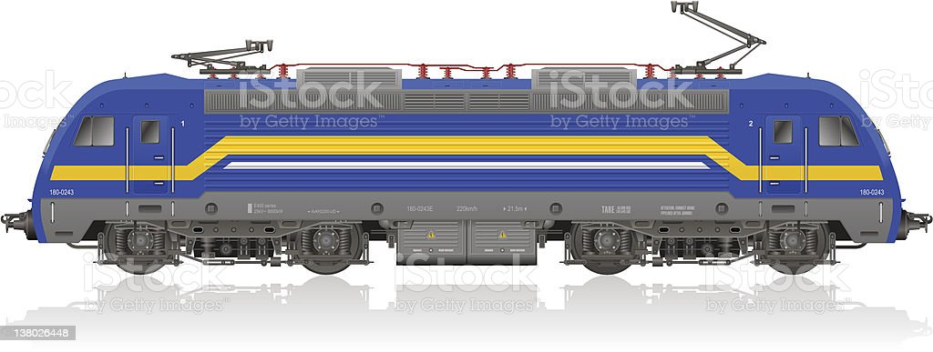 Detailed photorealistic model of electric locomotive royalty-free stock vector art
