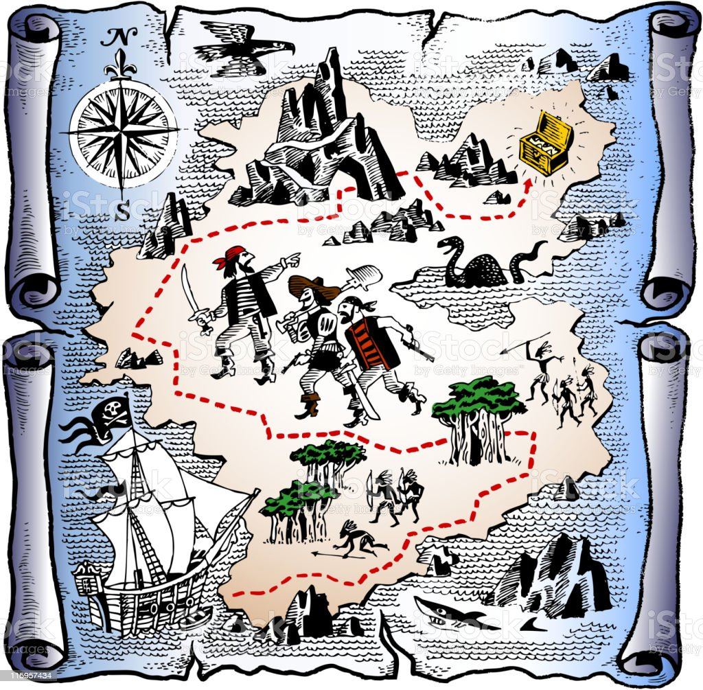 detailed pirate treasure map vector art illustration