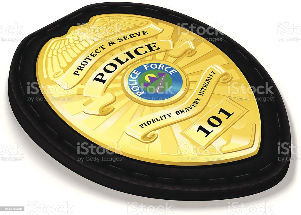 Detailed Police Badge with Leather Holder royalty-free stock vector art