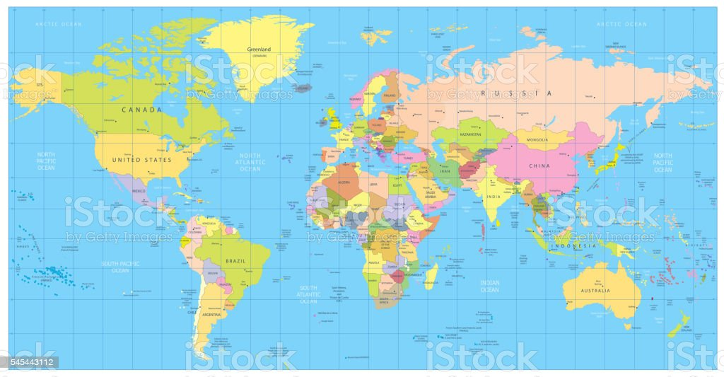Detailed political World Map: countries, cities, water objects vector art illustration