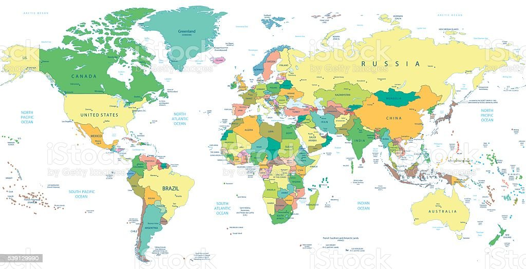 Detailed Political World map isolated on white vector art illustration