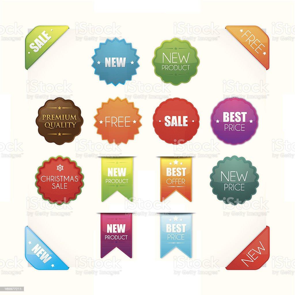 Detailed promotional badges vector art illustration
