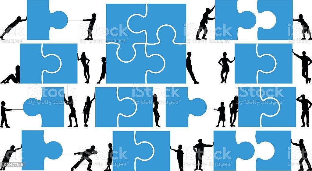 Detailed Puzzles Concept vector art illustration