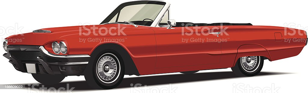 Detailed Red Classic Convertible Vector vector art illustration