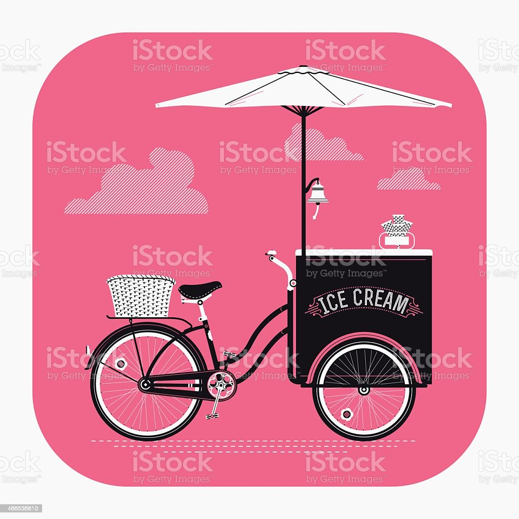 Detailed retro ice cream vending cart with parasol vector art illustration