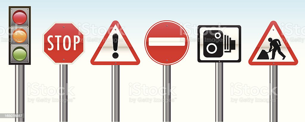 Detailed Road Signs vector art illustration