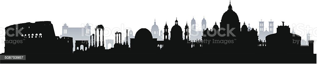 Detailed Rome Skyline (Complete, Moveable Buildings) vector art illustration