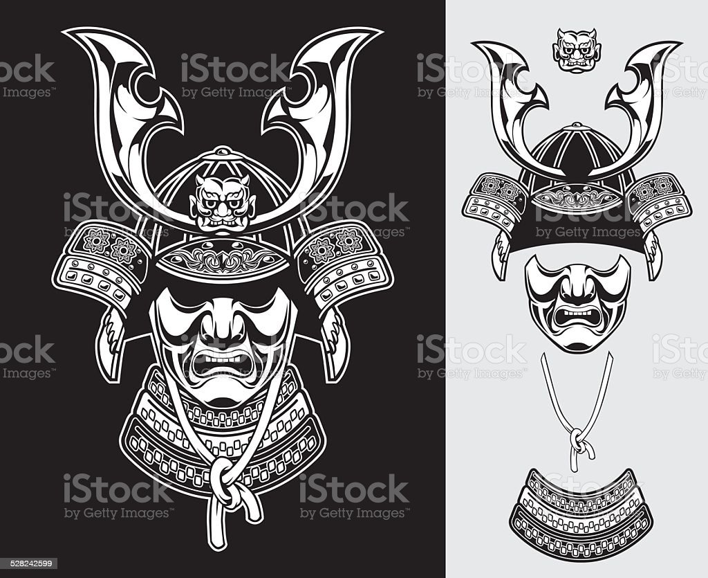 detailed samurai armor vector vector art illustration