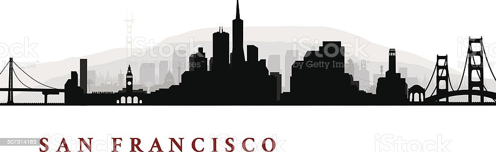Detailed San Francisco Cityscape vector art illustration
