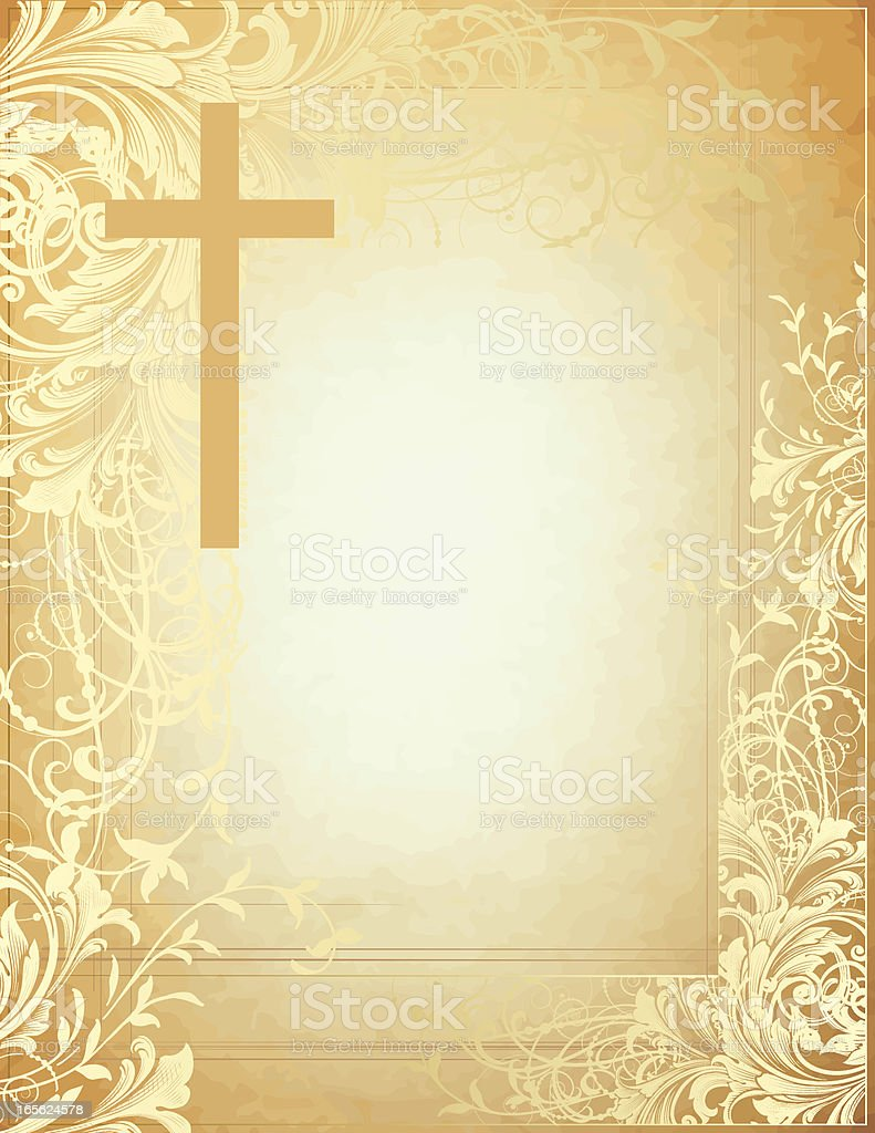 Cross Scroll Parchment hand engraving scrollwork vector art illustration