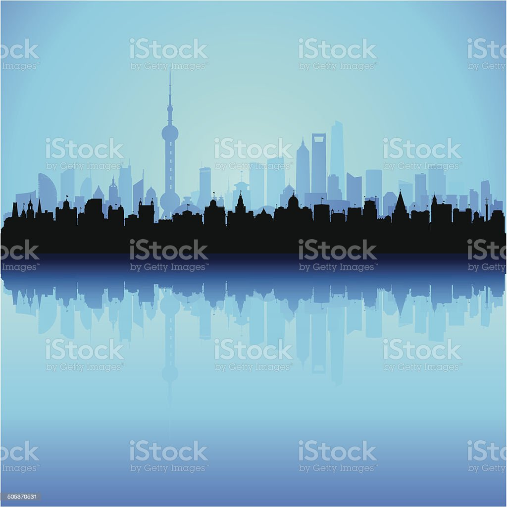 Detailed Shanghai Skyline (Complete, Separate, Moveable Buildings) vector art illustration