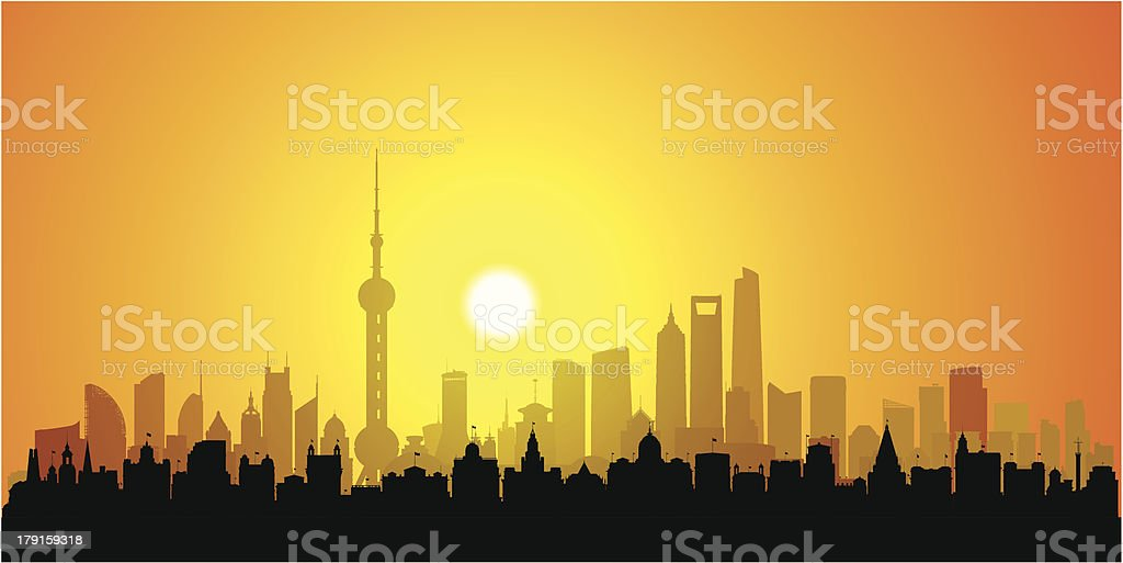 Detailed Shanghai Sunset (Each Building is Moveable and Complete) vector art illustration