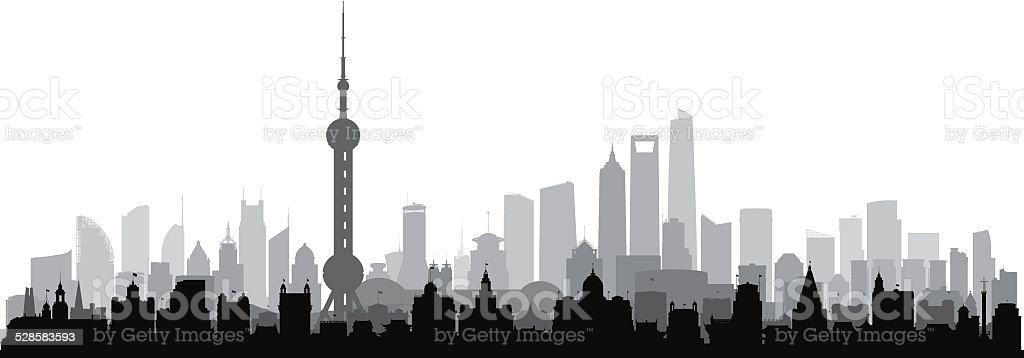 Detailed Shanghai (Complete, Separate Buildings) vector art illustration