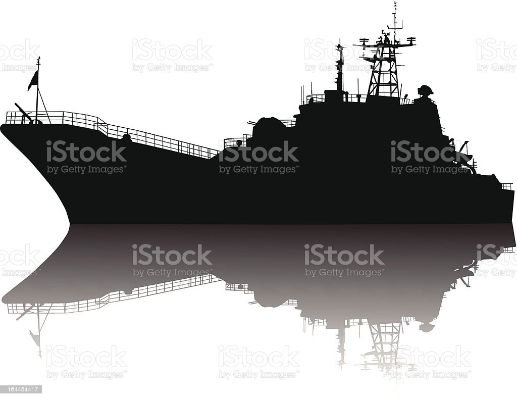 Detailed silhouette of a large ship with shadow in water vector art illustration