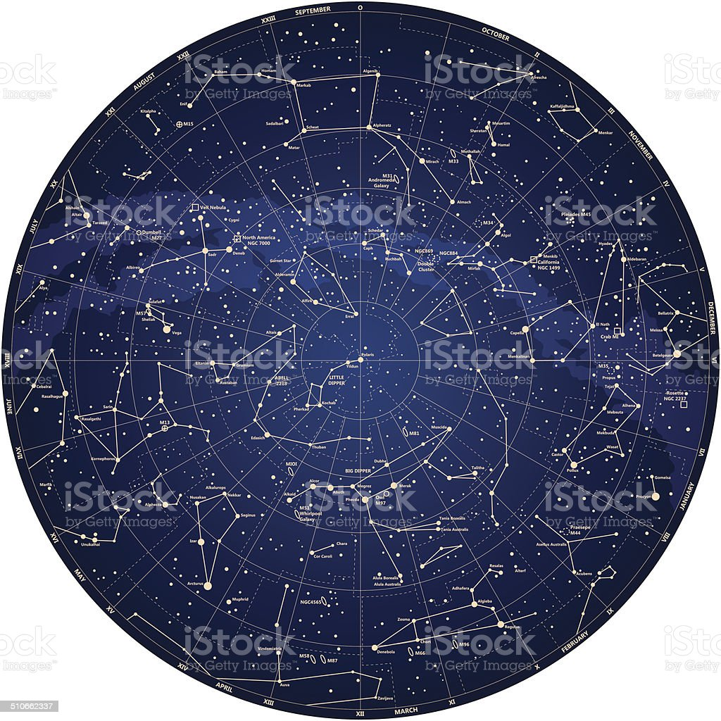 detailed sky map Northern hemisphere with names of stars vector vector art illustration
