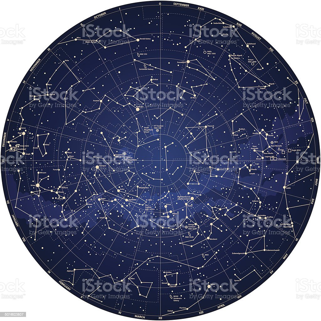 detailed sky map Southern hemisphere with names of stars vector art illustration