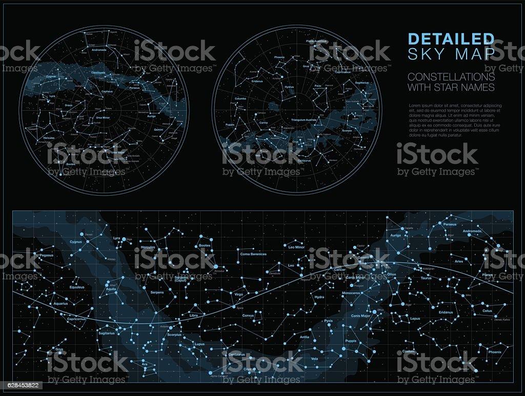 Detailed sky maps vector set vector art illustration