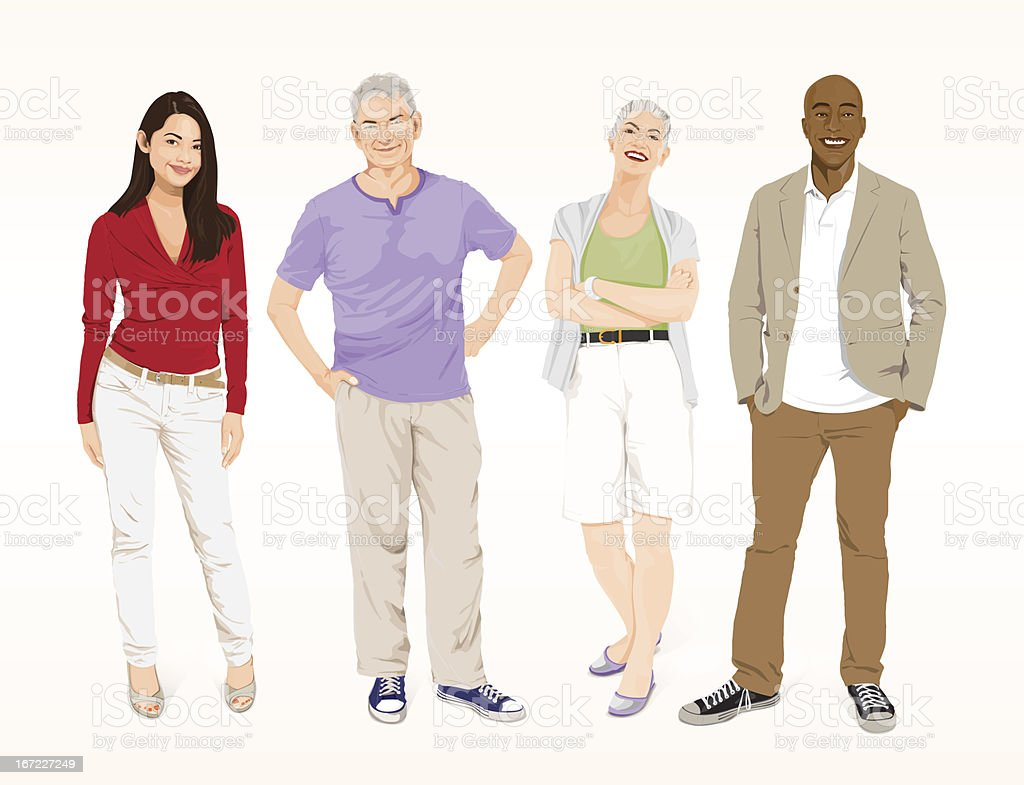 Detailed Smart Casual People vector art illustration