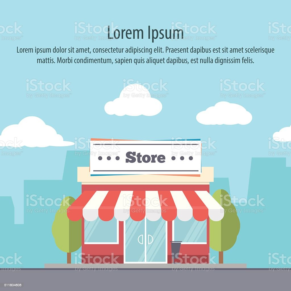 detailed storefront in flat style on background of the city vector art illustration