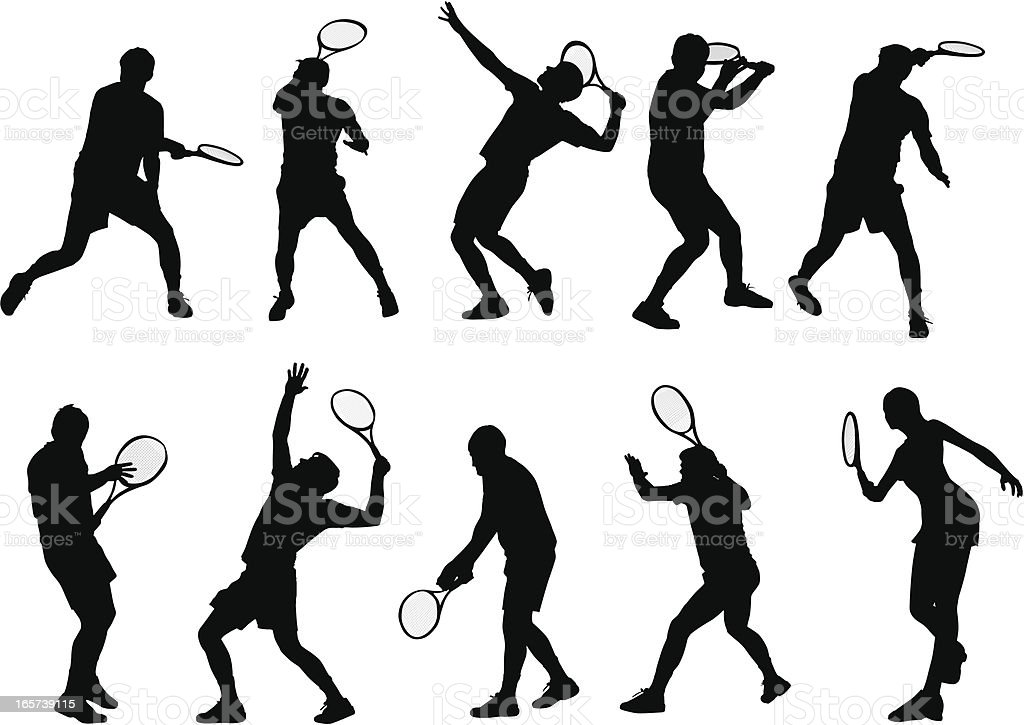 Detailed tennis players vector art illustration