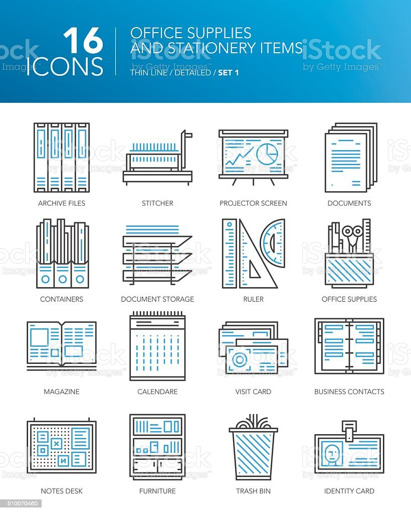 Detailed thin line icons. Office supplies and stationery items vector art illustration
