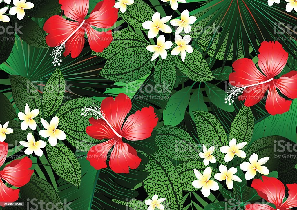 Detailed tropical flowers and plants illustration vector art illustration