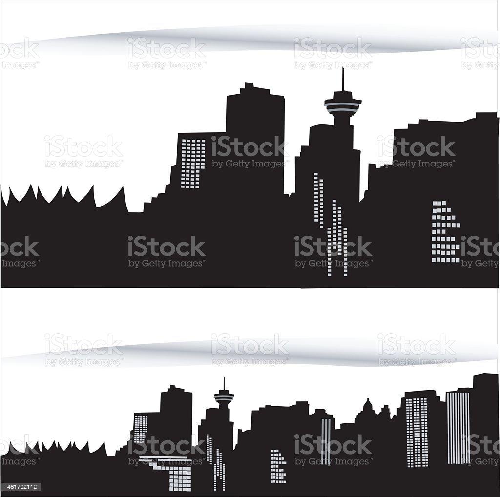 Detailed Vancouver vector art illustration