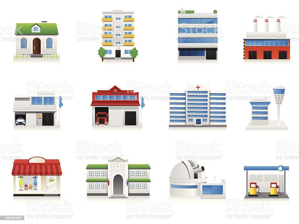 Detailed Vector Buildings Set vector art illustration