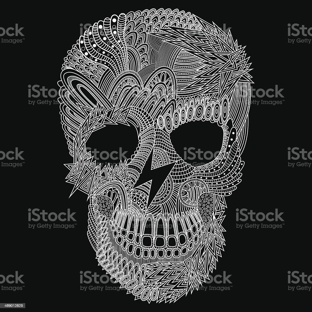 Detailed vector carving of a skull royalty-free stock vector art