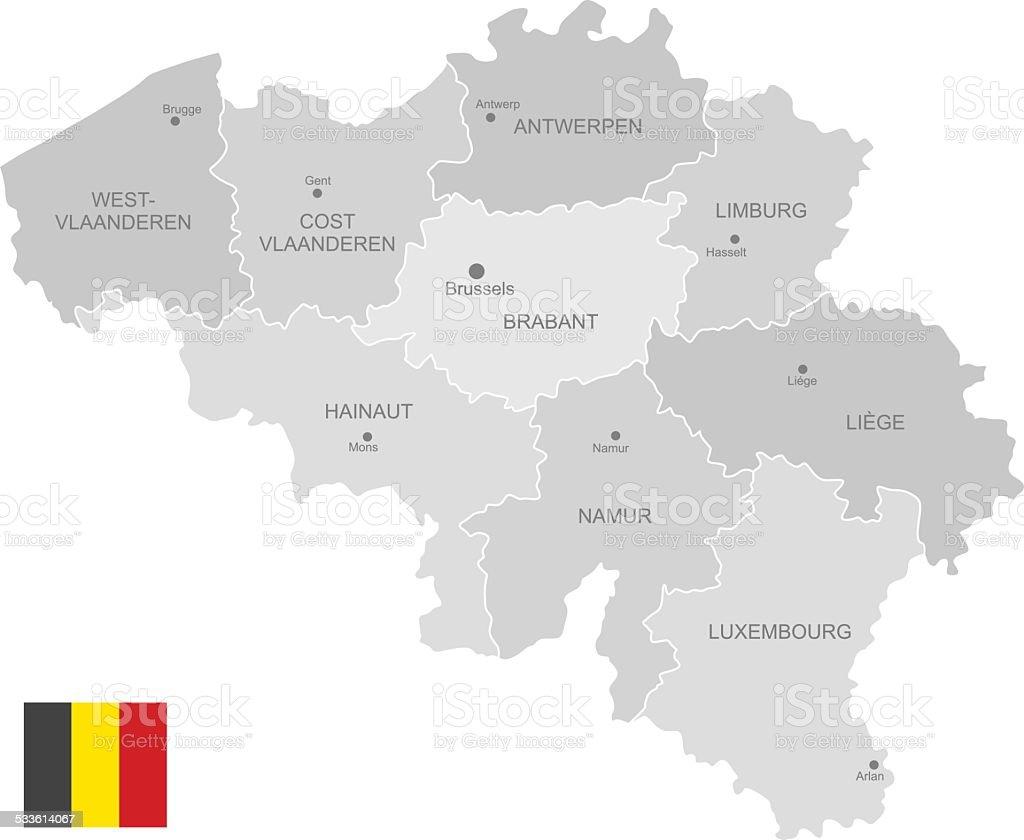 Detailed Vector Map of Belgium vector art illustration