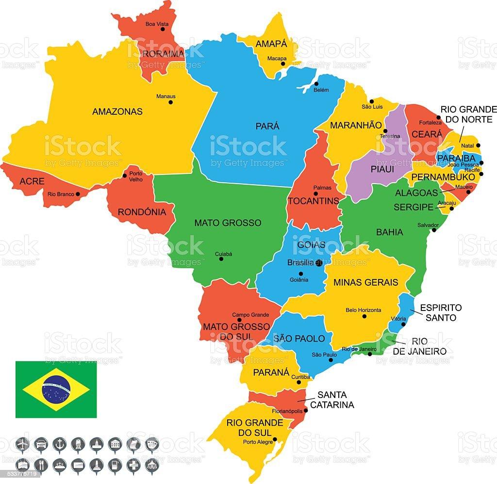 Detailed Vector Map of Brazil vector art illustration