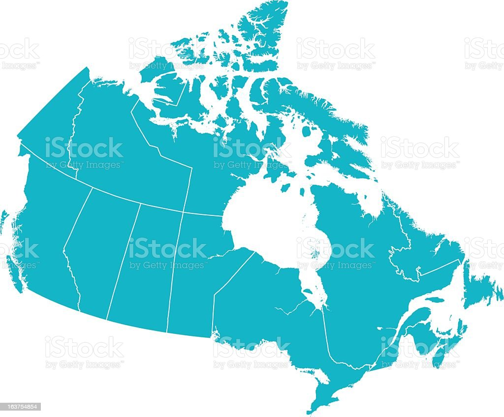 Detailed Vector Map of Canada with Provincial Borders in White. vector art illustration