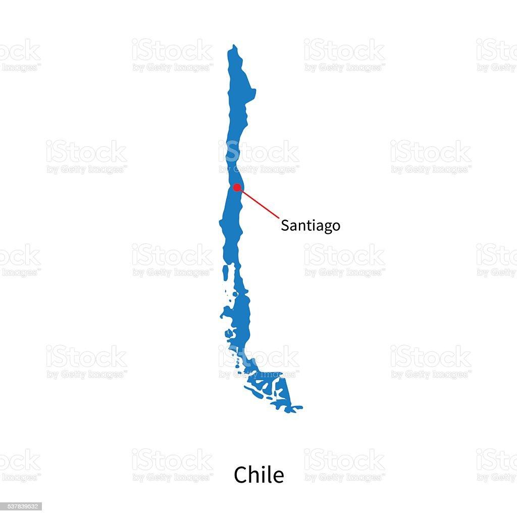 Detailed vector map of chile and capital city santiago for Mapa de santiago de chile