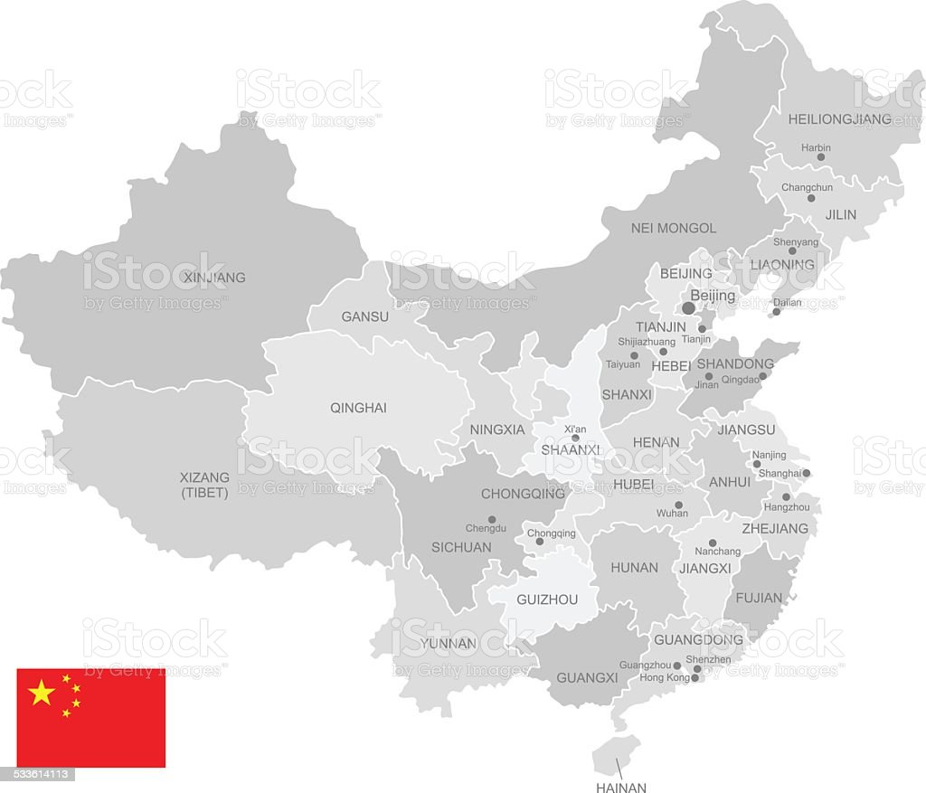 Detailed Vector Map of China vector art illustration