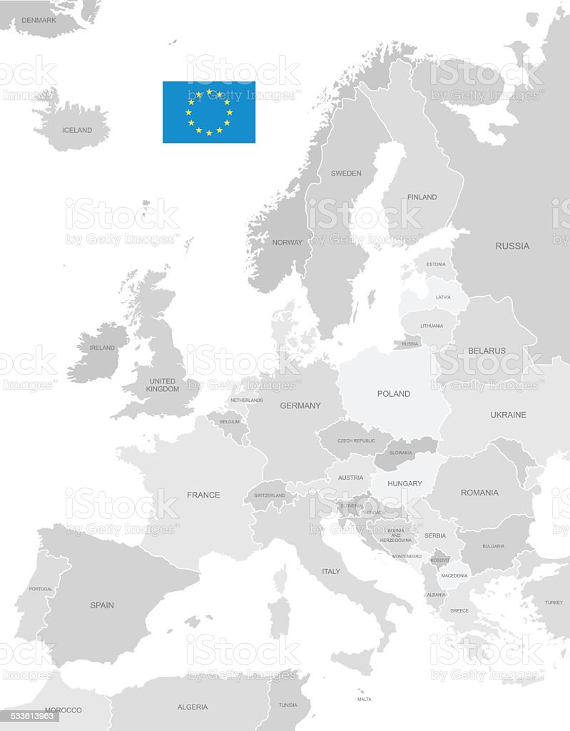 Detailed Vector Map of Europe vector art illustration