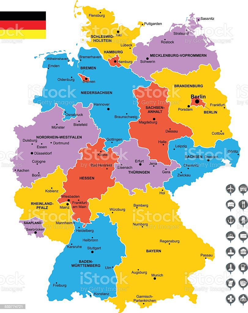 Detailed Vector Map Of Germany stock vector art 533774721