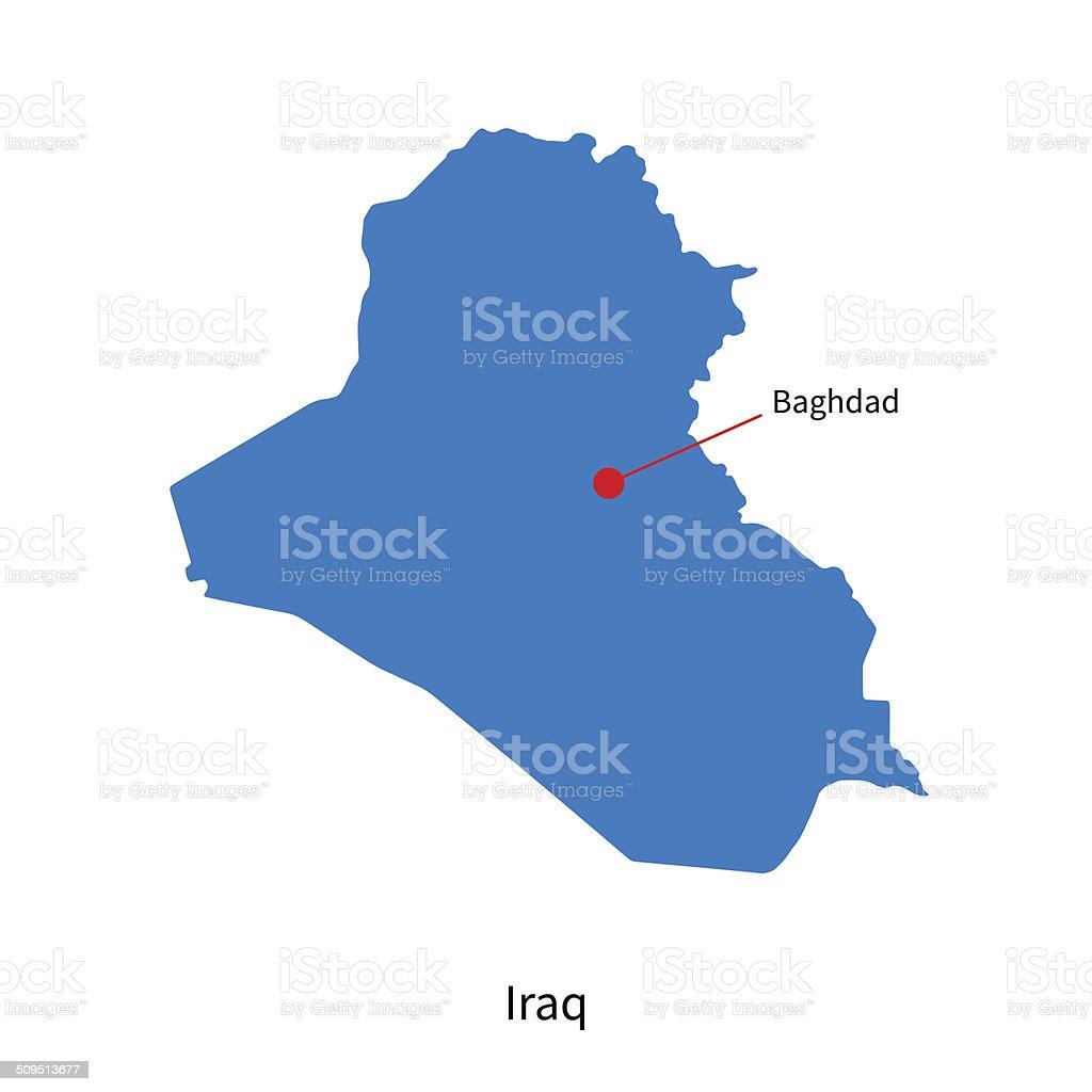 Detallado Vector De Mapa De Iraq Y Ciudad Capital De Bagdad – Mapa De Iraq