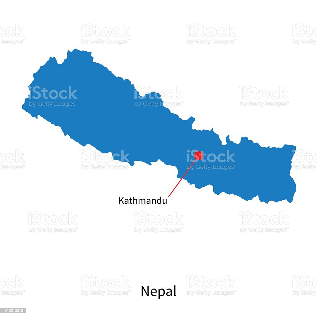 Detailed vector map of Nepal and capital city Kathmandu vector art illustration