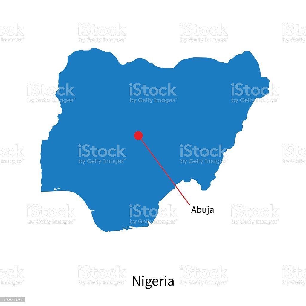 Detailed vector map of Nigeria and capital city Abuja vector art illustration