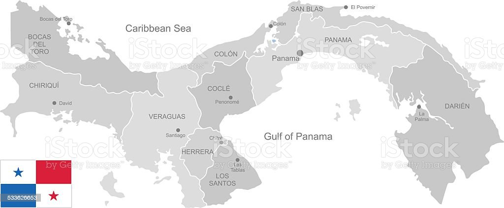 Detailed Vector Map of Panama vector art illustration