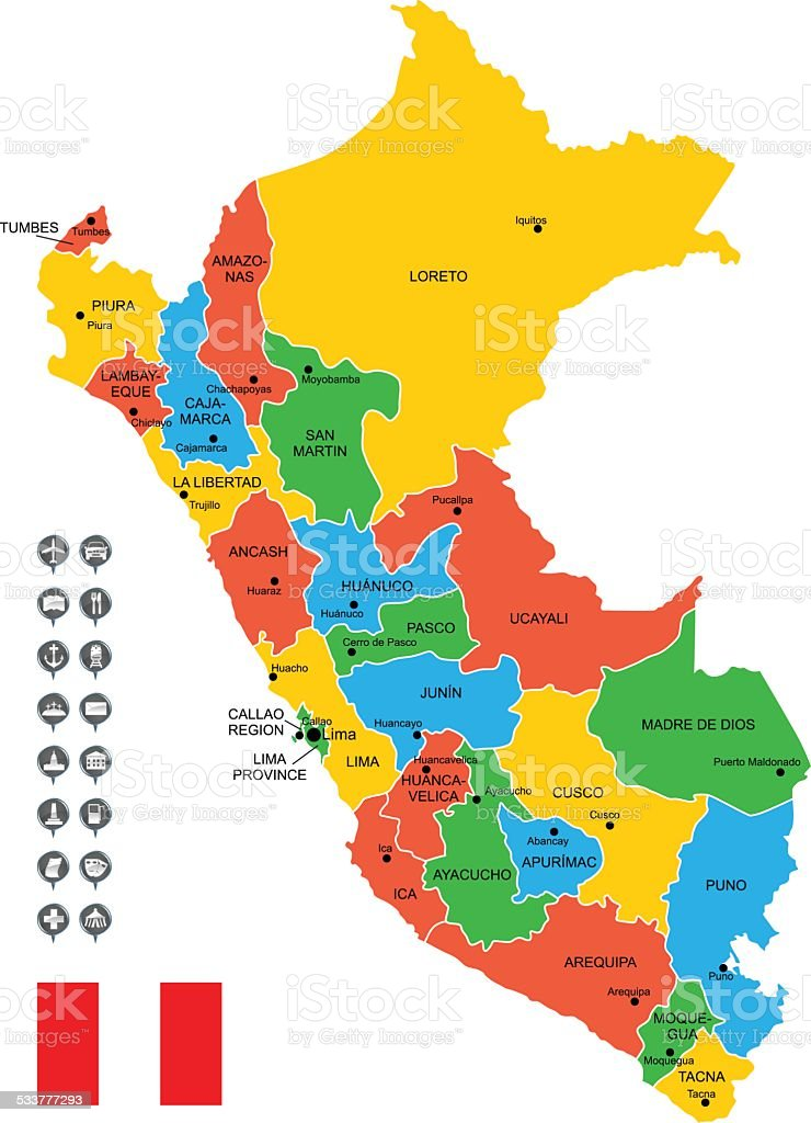 Detailed Vector Map of Peru vector art illustration