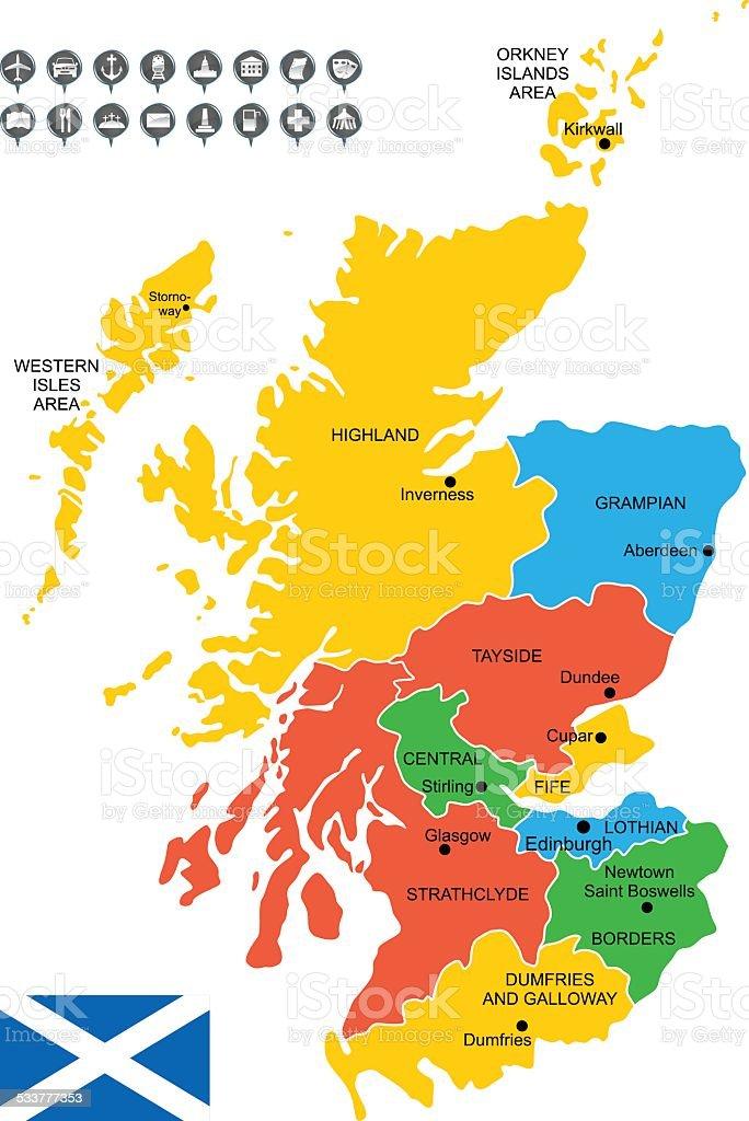 Detailed Vector Map of Scotland vector art illustration