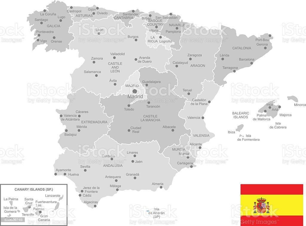 Detailed Vector Map of Spain vector art illustration