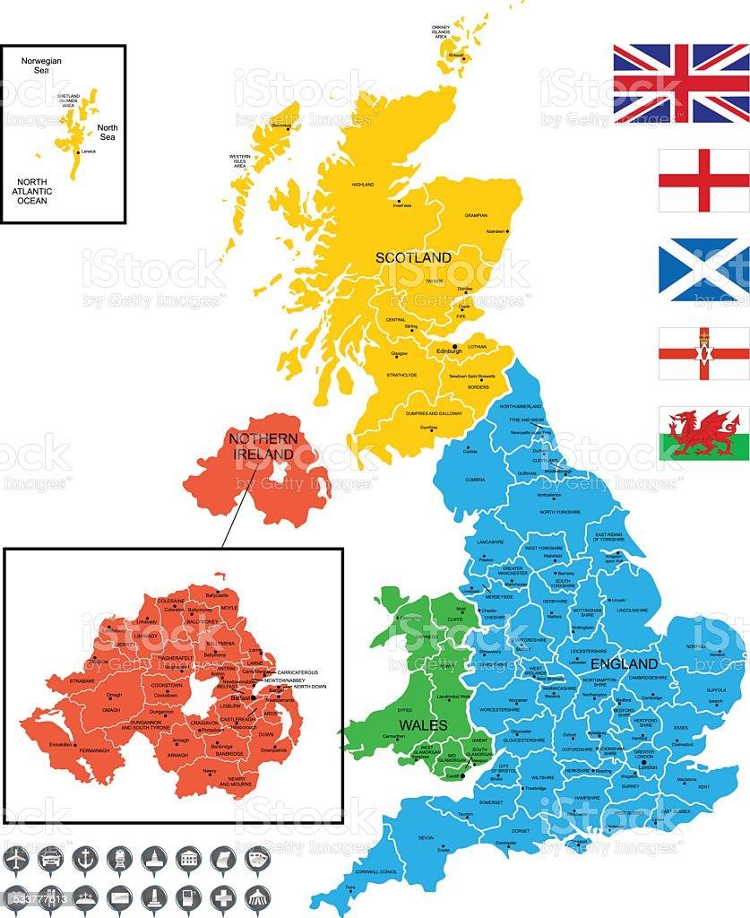 Detailed Vector Map of United Kingdom vector art illustration