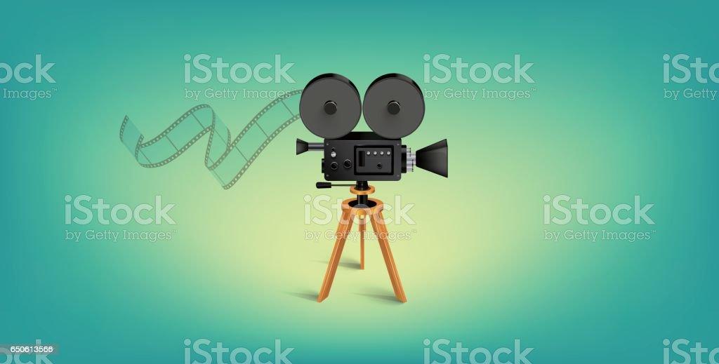 Detailed Vector Movie Camera Illustration vector art illustration