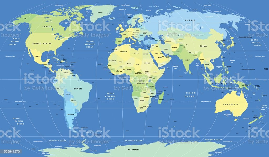Detailed vector political World Map vector art illustration