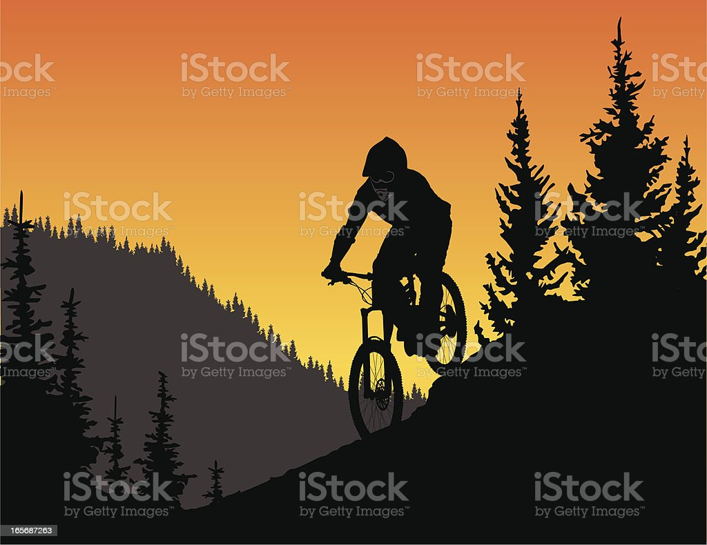 Detailed vector silhouette of a downhill mountain biker in trees. royalty-free stock vector art
