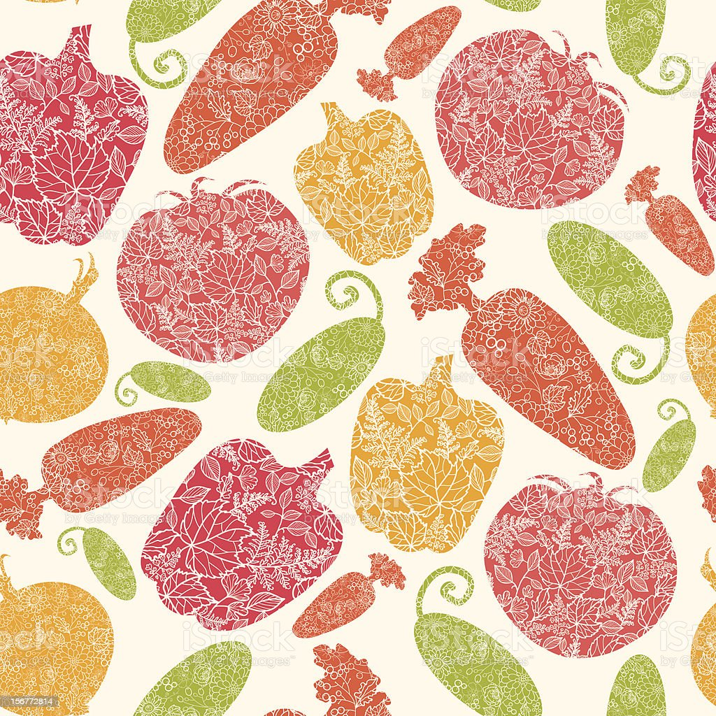 Detailed Vegetables Silhouettes  Seamless Pattern Background royalty-free stock vector art